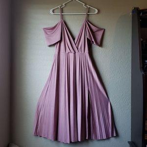 EUC Asos size 8 pink pleated cowl back maxi dress